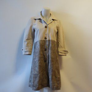 GRYPHON TAN AND SNAKESKIN PRINT TRENCH COAT SZ L *